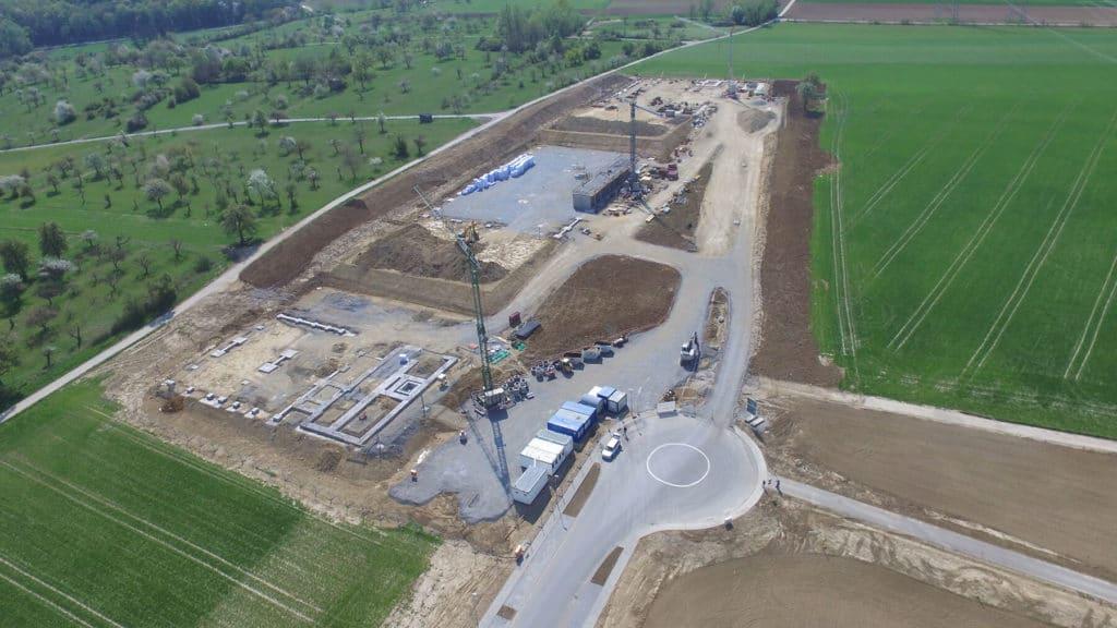 Luftaufnahme der Baustelle